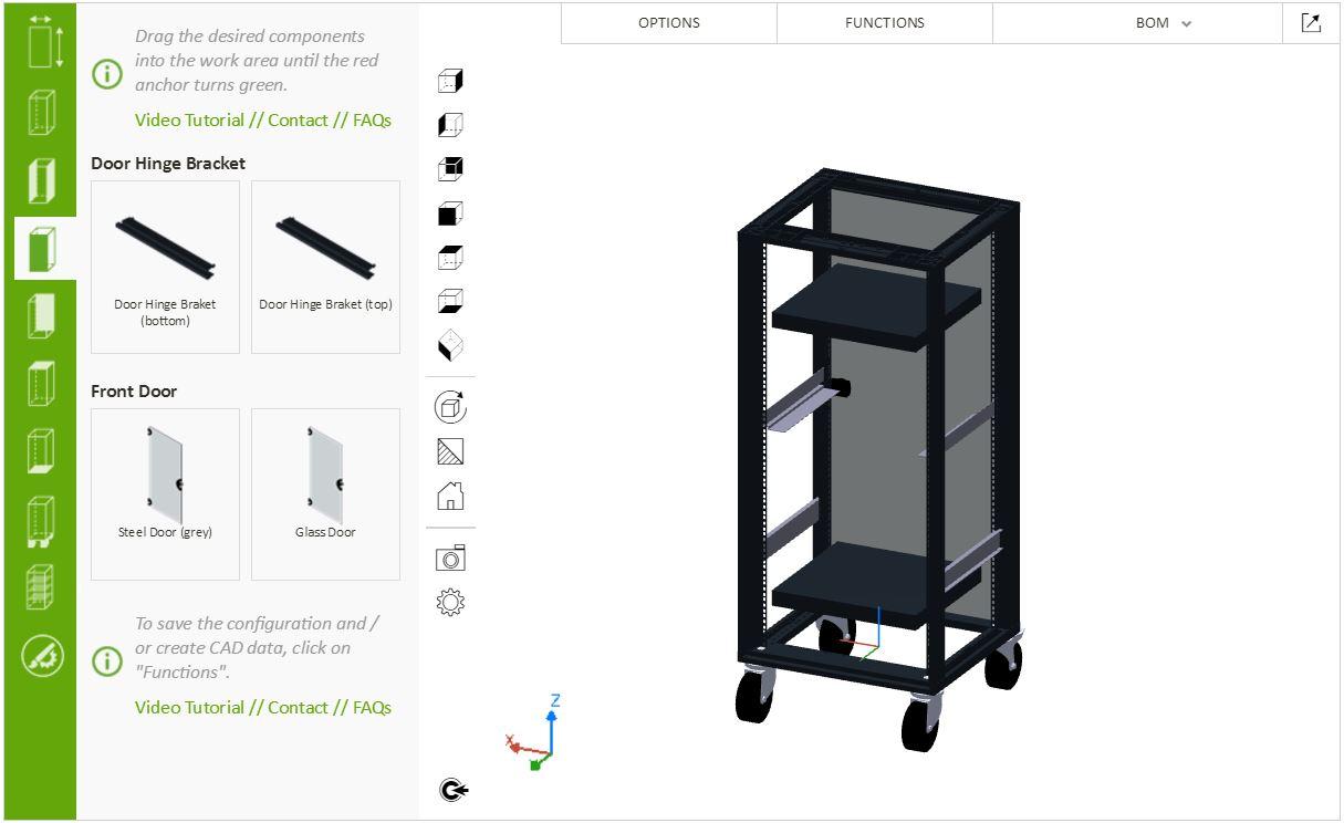 electronics cabinet configurator