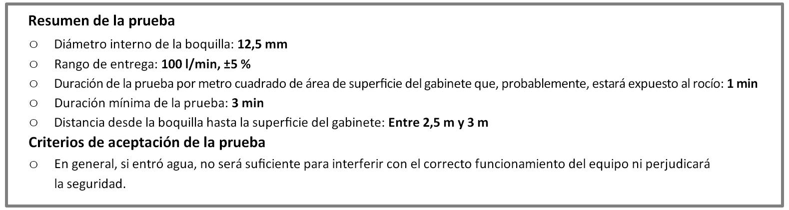 Protección IPX6, según las normas IEC